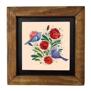تابلو کاشی طرح گل و پرنده کد 231