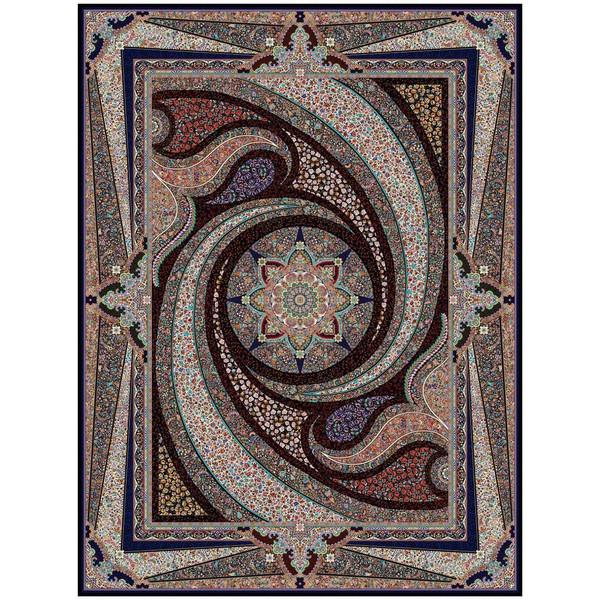 فرش ماشینی ماندگار پارس طرح کهکشان زمینه سورمه ای