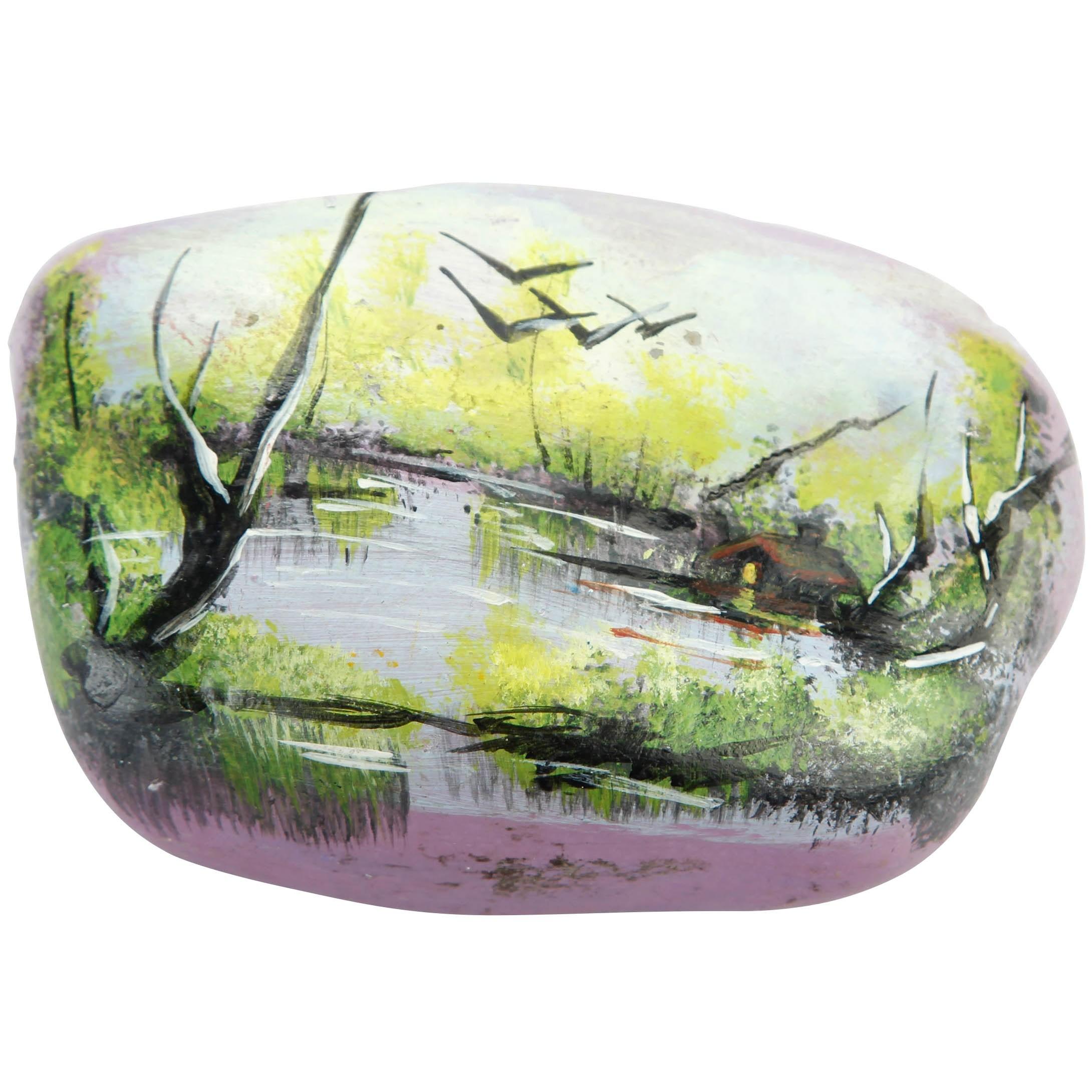 سنگ نقاشی شده طرح منظره