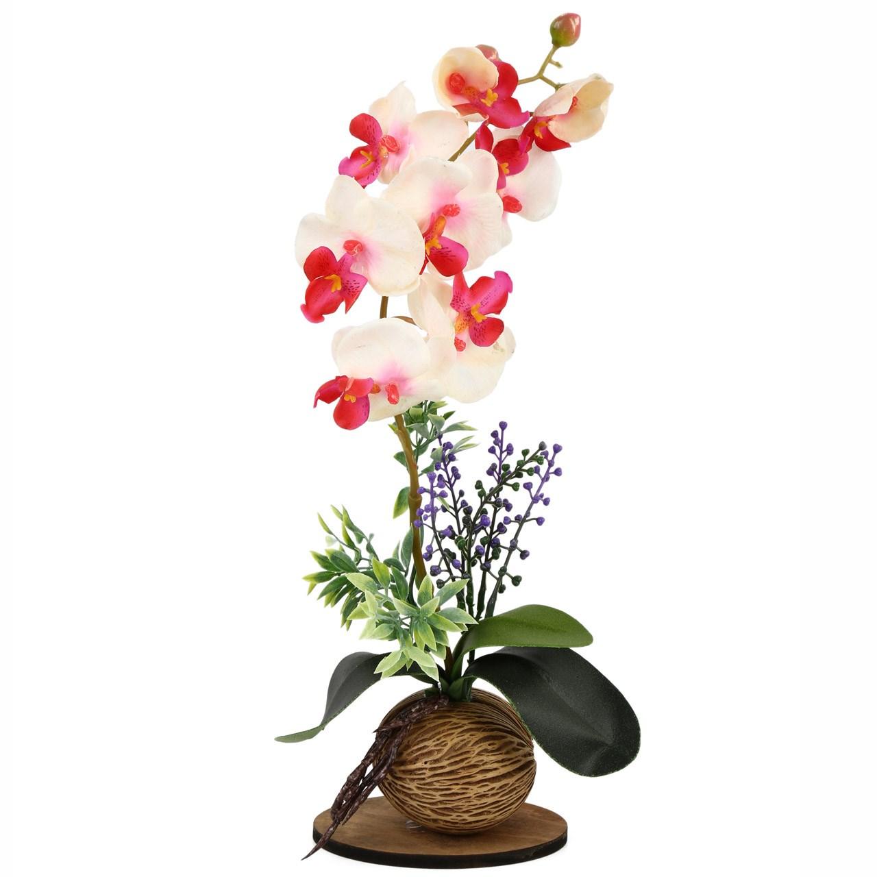 گلدان به همراه گل مصنوعی هومز طرح ارکیده مدل 35190