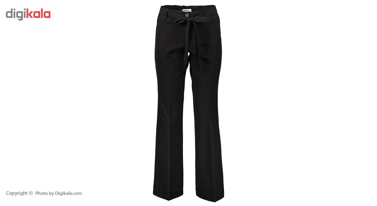شلوار زنانه دمپا گشاد پارچه ای مشکی مدل 206 -  - 2