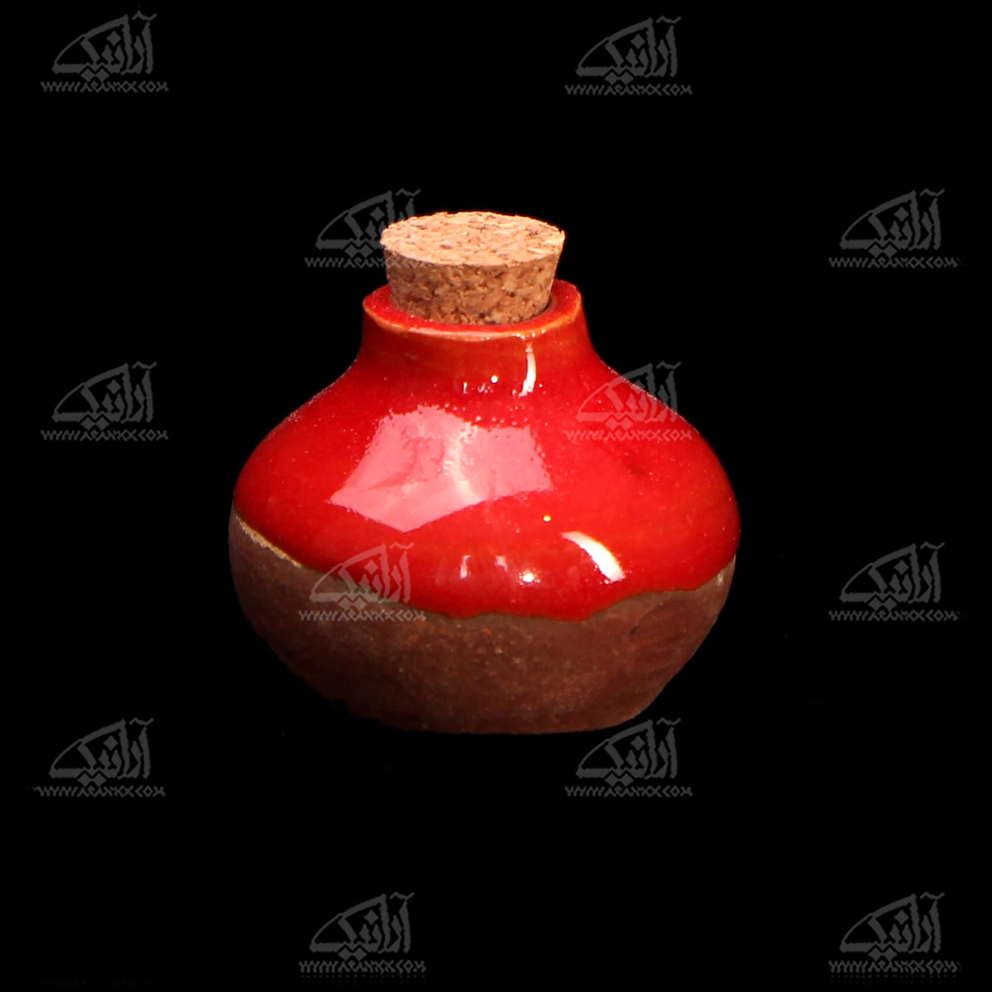 عطردان سفالی لعاب ساده  .رنگ قرمز طرح نشاط مدل 1002700004