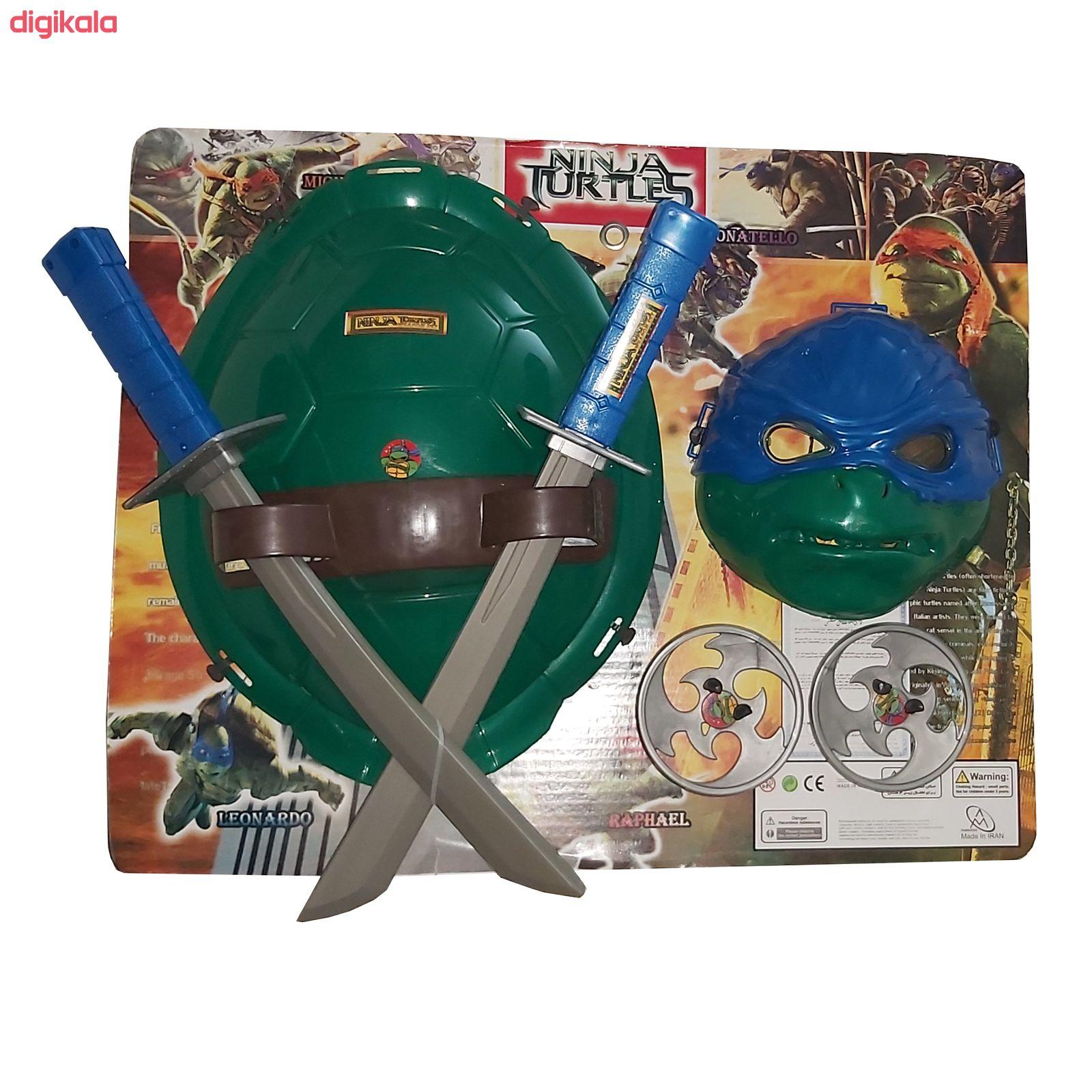 ست ماسک و لاک و شمشیر لاک پشت نینجا طرح لئوناردو main 1 1