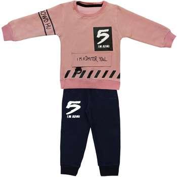ست تی شرت و شلوار بچگانه مدل five کد 104 رنگ کالباسی