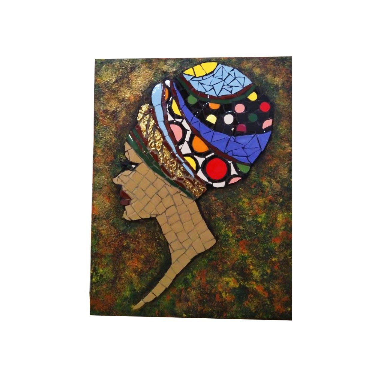 تابلو کاشی کاری طرح زن آفریقایی