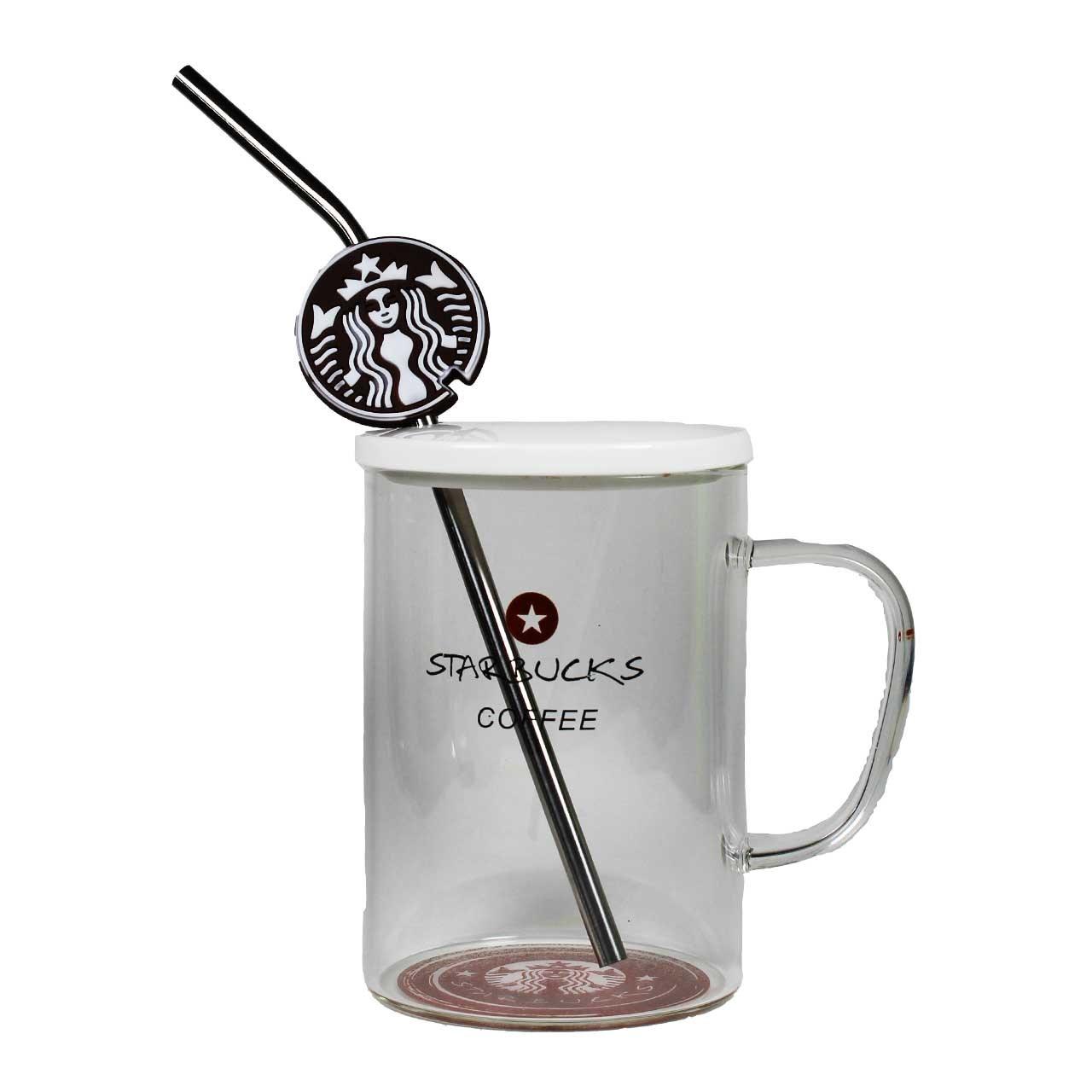 ماگ شیشه ای دردار مدل Starbucks طرح 4