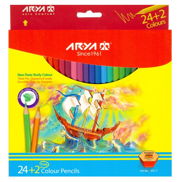 مداد رنگی 26 رنگ آریا مدل 3017
