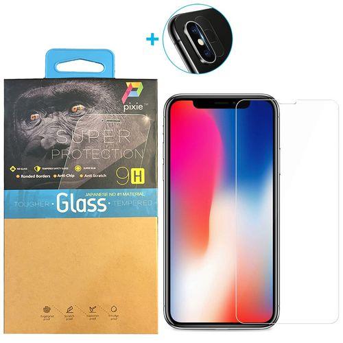 محافظ صفحه نمایش و لنز تمام چسب شیشه ای پیکسی مدل Clear  مناسب برای گوشی اپل آیفون X