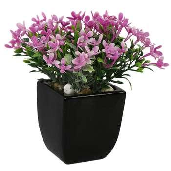 گلدان سرامیک به همراه گل مصنوعی هومز طرح مینا پودری مدل 30507