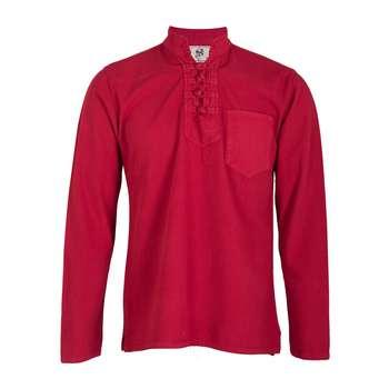 پیراهن مردانه الیاف طبیعی چترفیروزه مدل چهارگره قرمز  کد 11