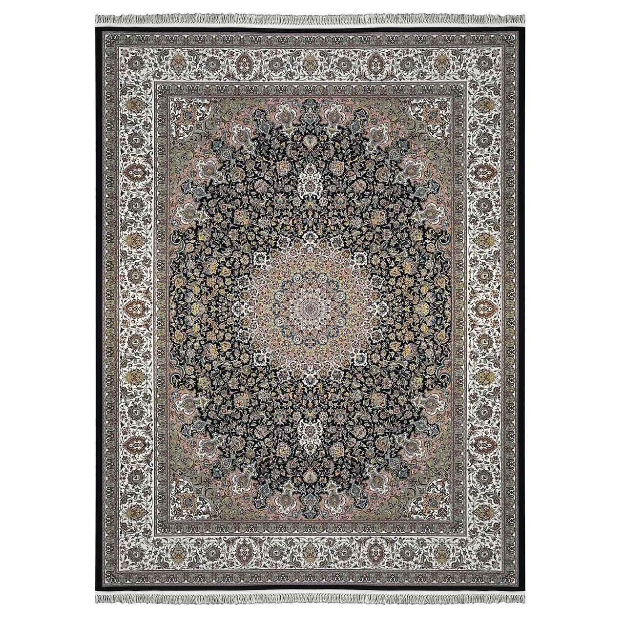 فرش ماشینی زمرد مشهد طرح نایین کد 36010 سورمه ای