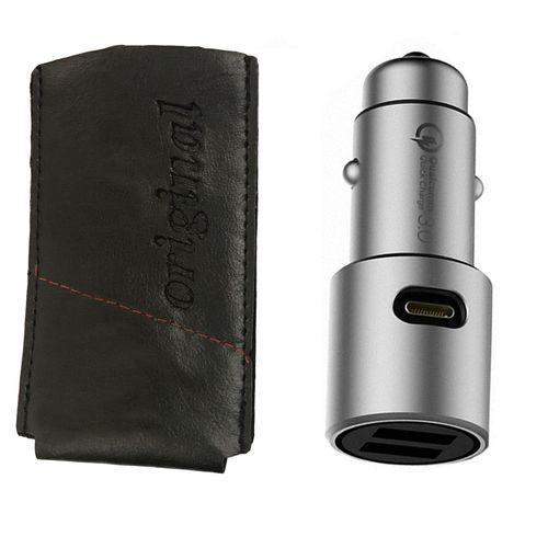 شارژر فندکی شیاومی مدل CZCDQ02ZM QC3.0 فست شارژ دارای پورت USB-Cهمراه با کیف شارژر فندکی مدل original 2ZM