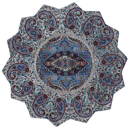 رومیزی ترمه ابریشمی ترمه حسینی طرح خورشید مدل 02-33