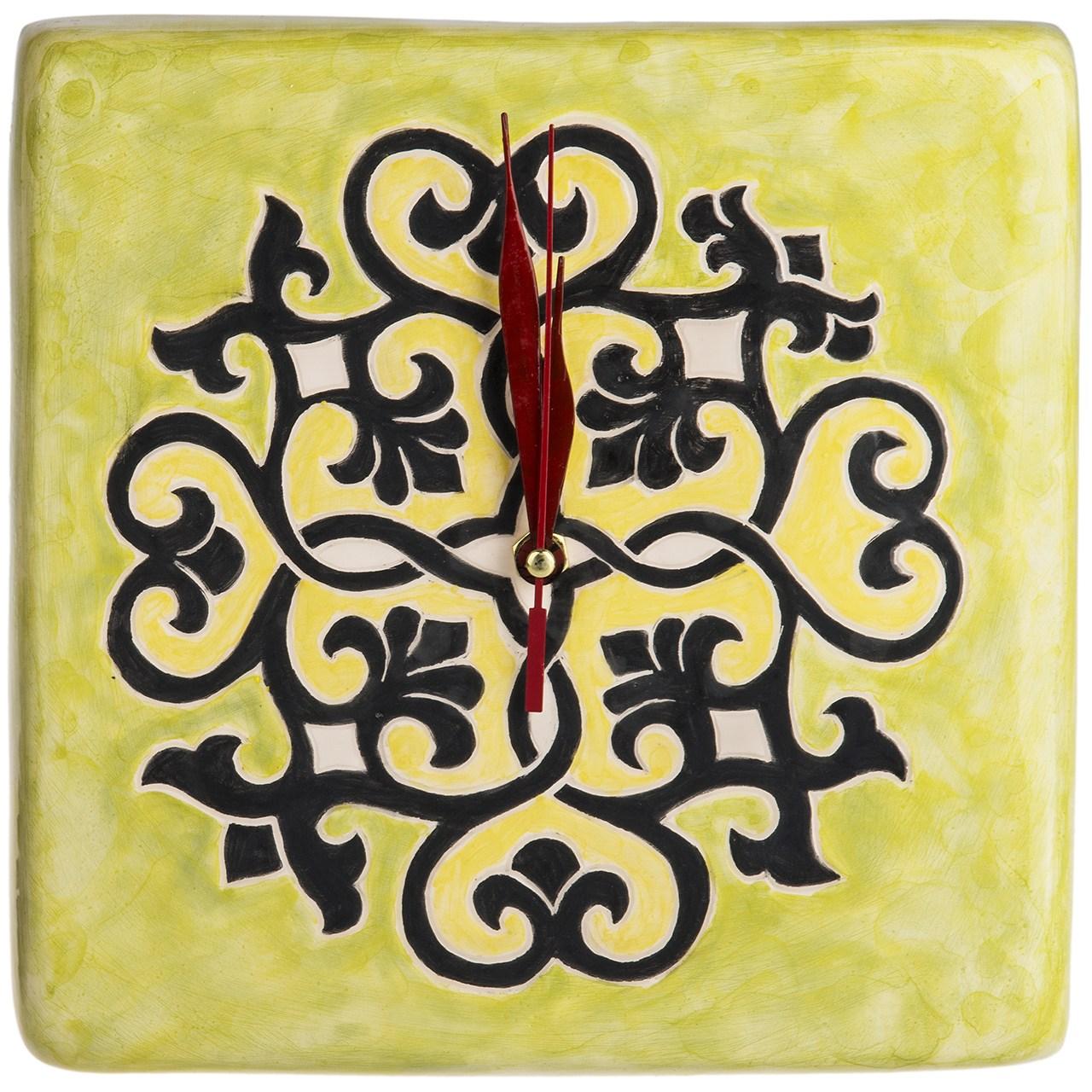 ساعت سرامیکی گالری اروشا مدل مربعی طرح اسلیمی