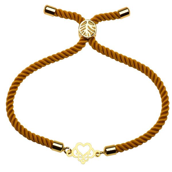 دستبند طلا 18 عیار دخترانه کرابو طرح قلب مدل Krd1121