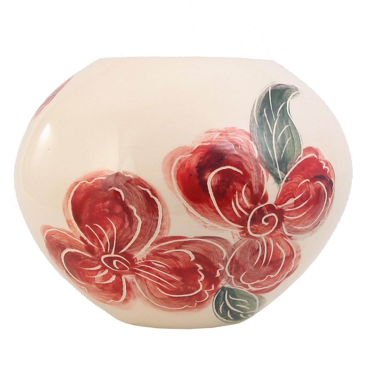 گلدان سرامیکی گالری فرتاش طرح گل صورتی کد171031