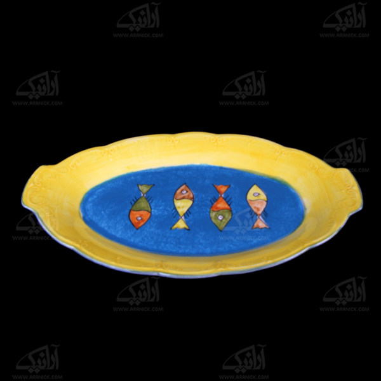 دیس سفالی نقاشی زیر لعابی  آرانیک رنگ زرد طرح ماهی  مدل 1016700010
