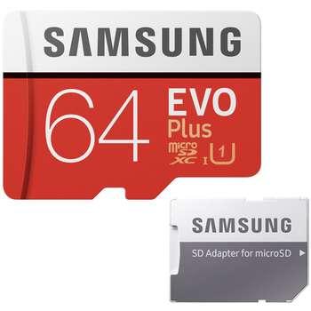 کارت حافظه microSDXC سامسونگ مدل EVO Plus کلاس 10 استاندارد UHS-I U1 سرعت 100MBps ظرفیت 64 گیگابایت به همراه آداپتور SD