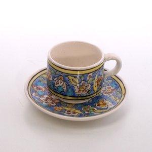 فنجان و نعلبکی سفالی نقاشی زیر لعابی آبی طرح گل و مرغ مدل 1007800012