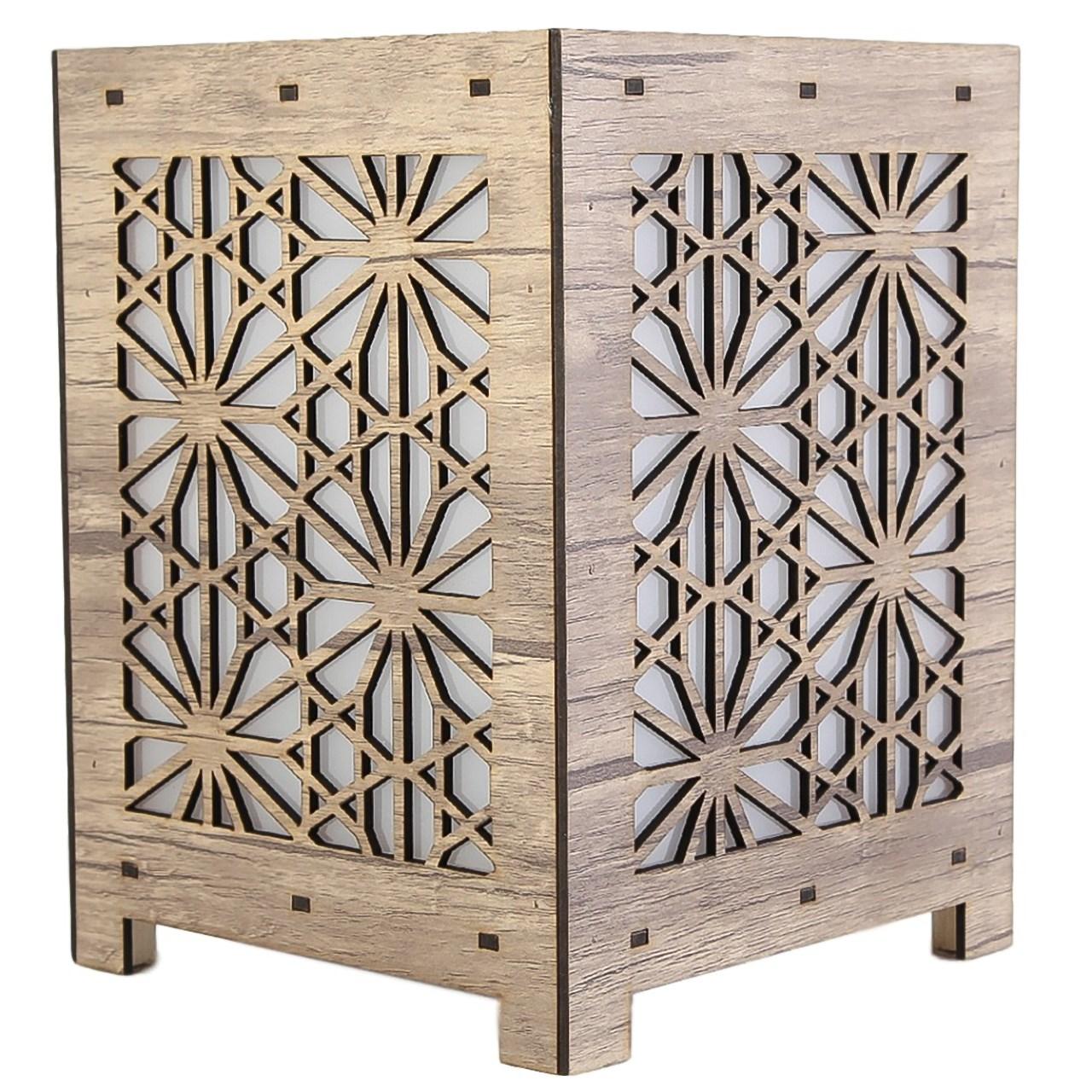 آباژور چوبی گالری آناهید طرح شش ضلعی سایزکوچک کد 93020