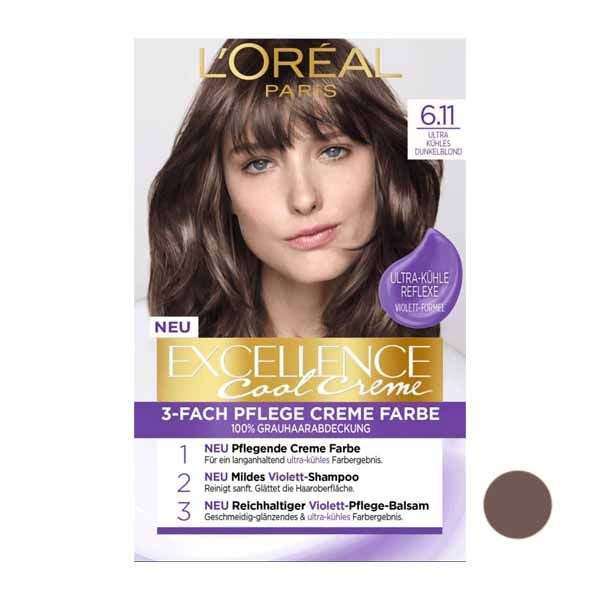 کیت رنگ مو لورآل سری Excellence شماره 6.11 حجم 40 میلی لیتر رنگ دودی