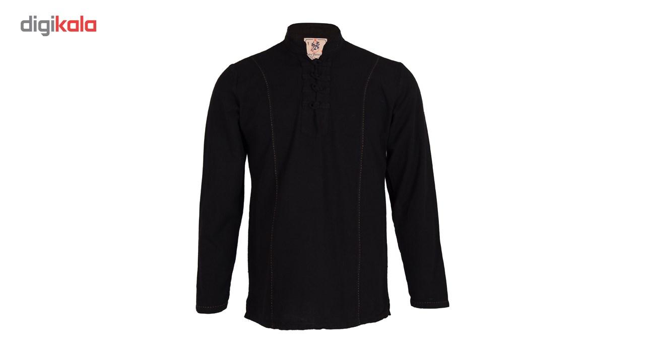 پیراهن مردانه چترفیروزه طرح رویال مشکی کد 6