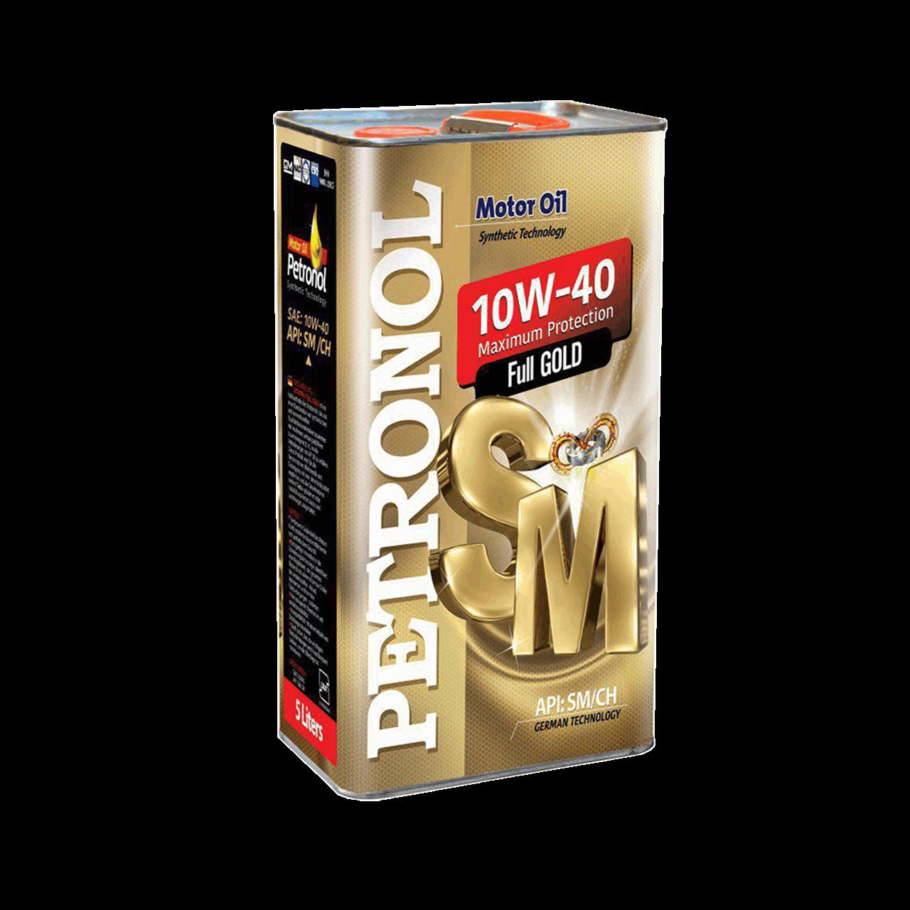 روغن موتور خودرو پترونول مدل  فول گلد نیمه سنتتیک SAE 10W-40 ظرفیت 5 لیتر