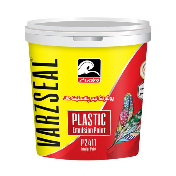 قیمت                                      رنگ نیم پلاستیک مات سفید ورزیران کد P2411 وزن 5 کیلوگرم