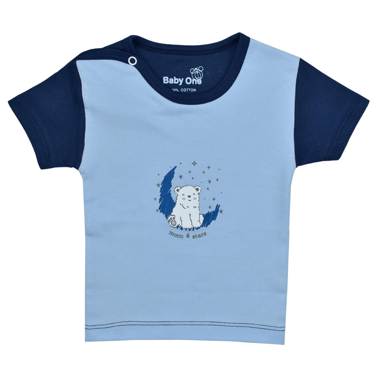 تی شرت آستین کوتاه نوزادی بی بی وان مدل خرس قطبی کد 1
