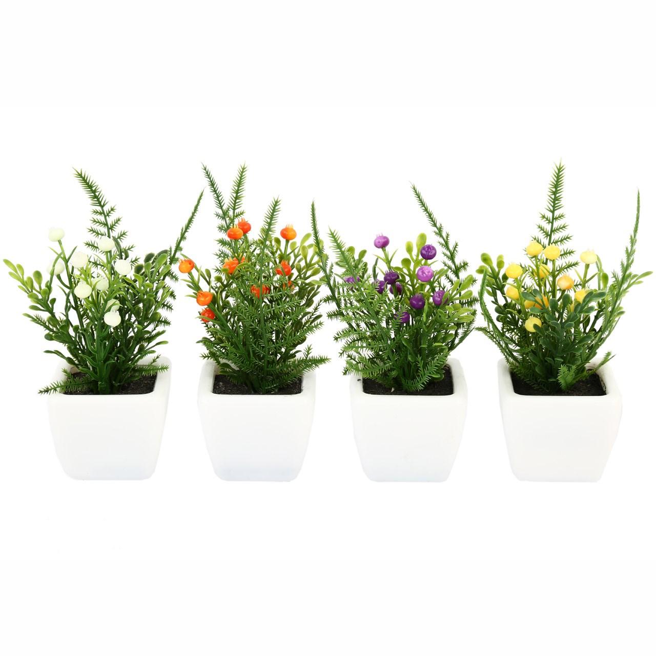 گلدان به همراه گل مصنوعی هومز طرح فلفل گرد مدل 30921 مجموعه 4 عددی