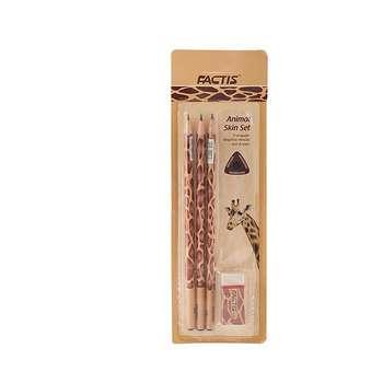 ست مداد مشکی و پاک کن فکتیس طرح زرافه