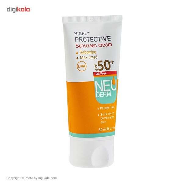 کرم ضد آفتاب فاقد چربی نئودرم مدل Highly Protective Max Tinted SPF50 حجم 50 میلی لیتر