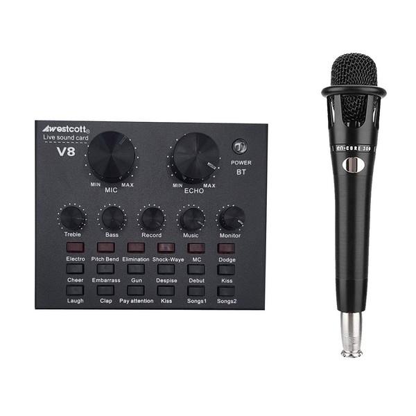 کارت صدا استودیو وسکات مدل  v8 به همراه میکروفون کاندنسر