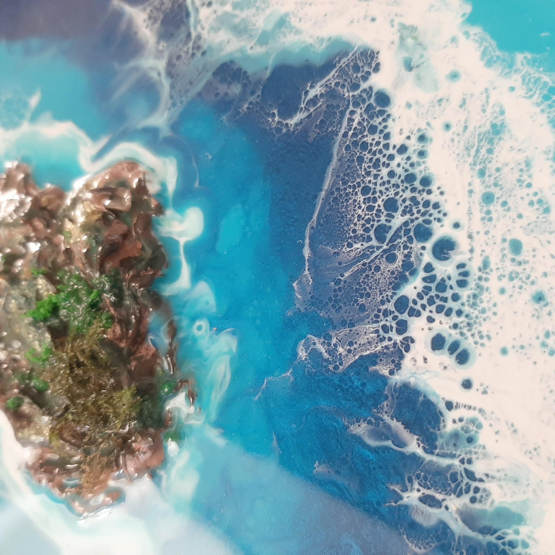 خرید                      تابلو رزین طرح دریا و جزیره کد D_122