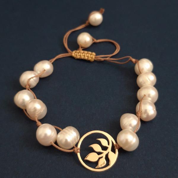 دستبند طلا 18 عیار زنانه الماسین آذر طرح برگ مدل Barg02