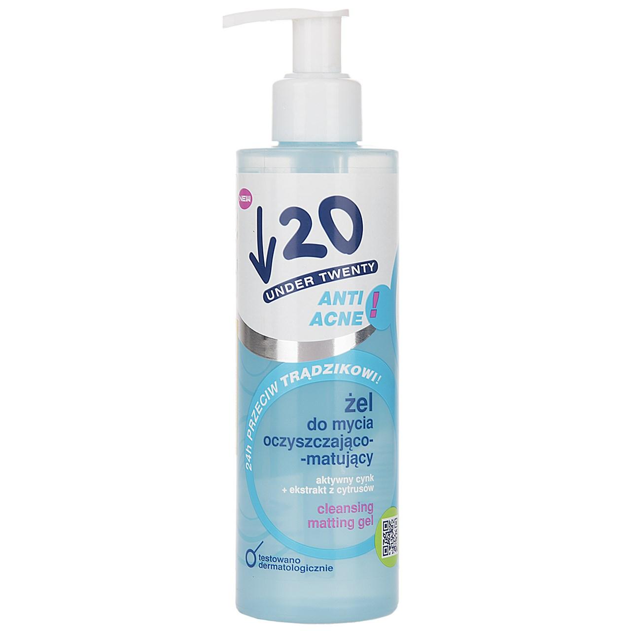 قیمت ژل پاک کننده و مات کننده آندر 20 سری Anti Acne حجم 200 میلی لیتر