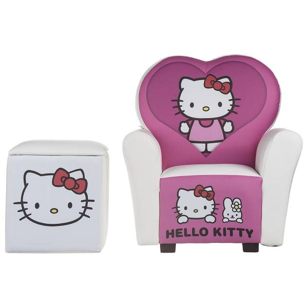 مبل و جلو مبلی کودک پینک مدل Hello Kitty