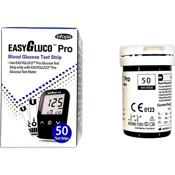 نوار تست قند خون اینفوپیا مدل EASYGLUCO PRO بسته 50 عددی