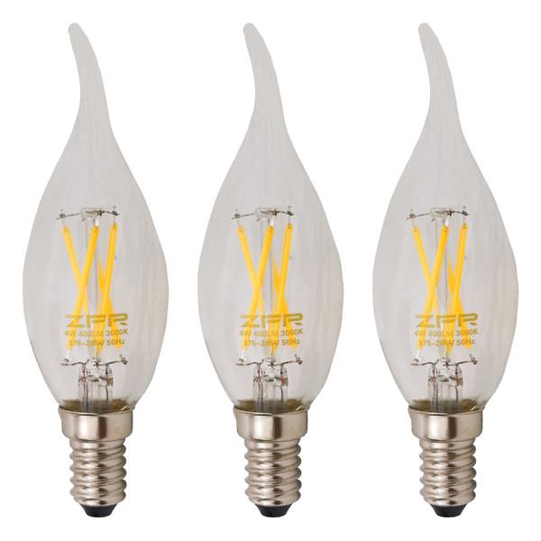 لامپ ال ای دی فیلامنتی 4 وات زد اف آر کد 14پایه E14 بسته 3 عددی