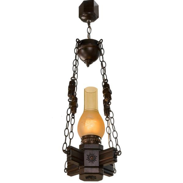 چراغ آویز دارکار مدل روستیک 1 شعله کد 109