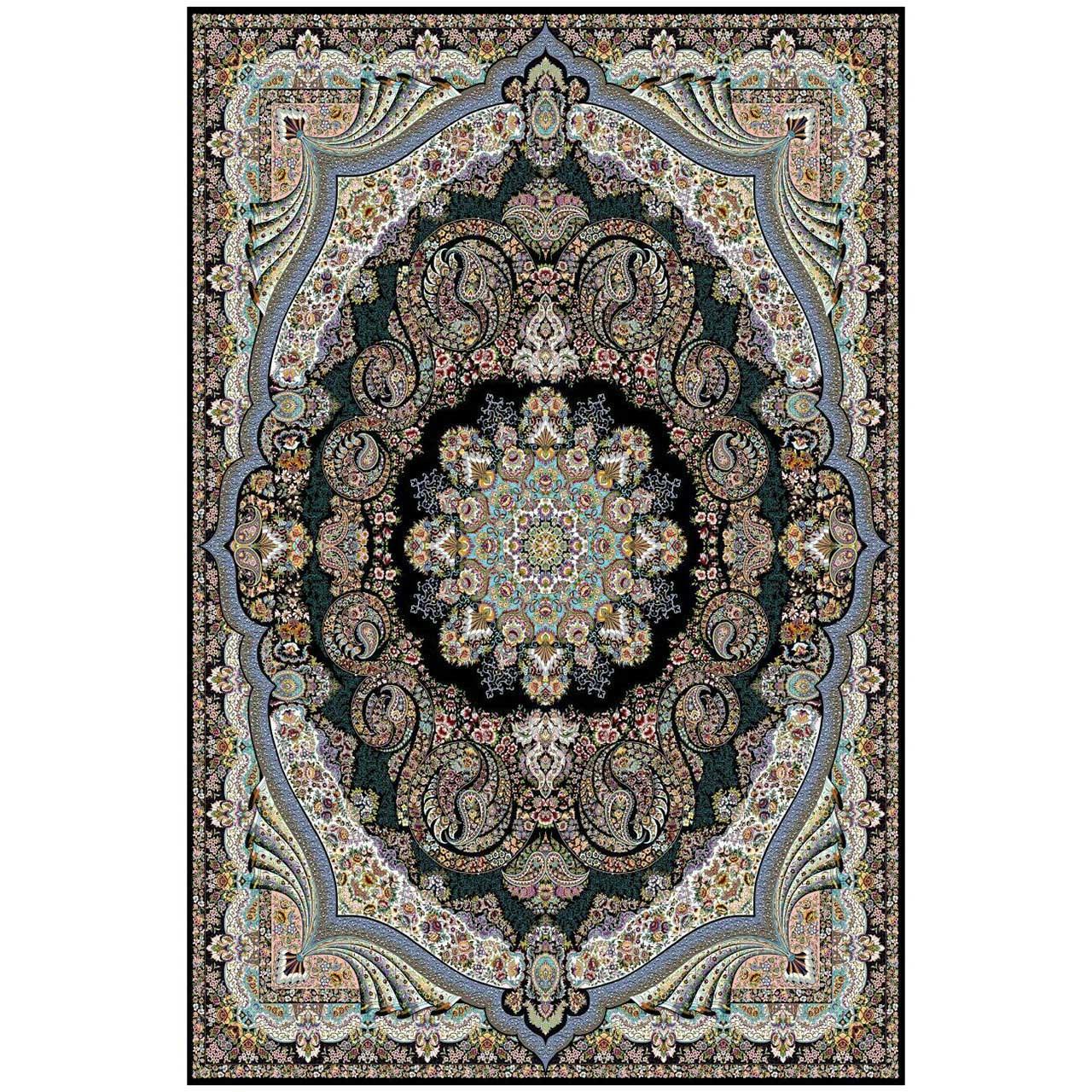 فرش ماشینی ماندگار پارس طرح گیسو زمینه سورمه ای