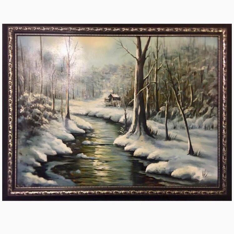 تابلو نقاشی رنگ روغن طرح جنگل در زمستان