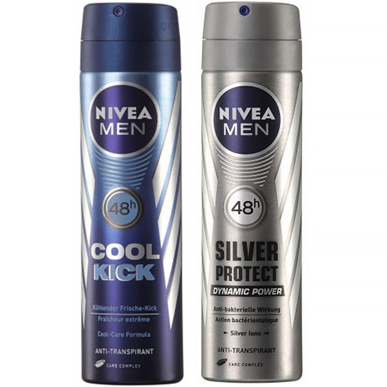 پک اسپری مردانه نیوآ مدل Silver Protect و Cool Kick بسته دو عددی