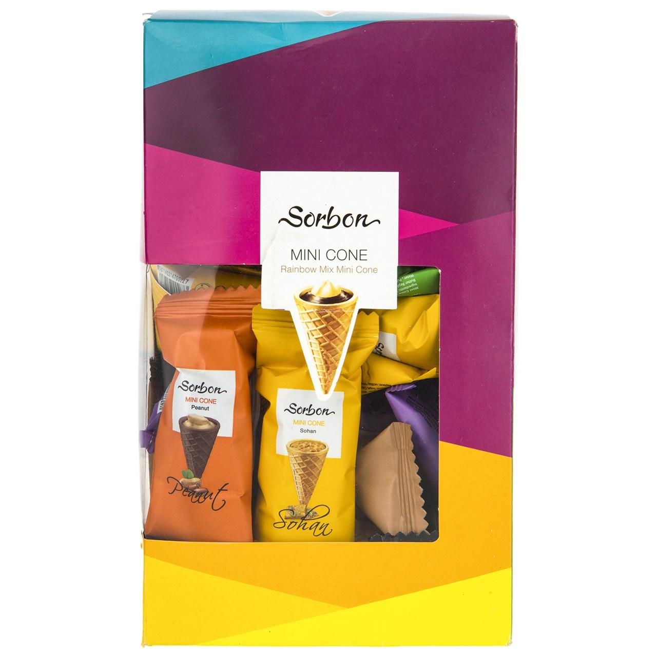 شکلات پذیرایی مخروطی سوربن مدل Rainbow Mix مقدار 350 گرم