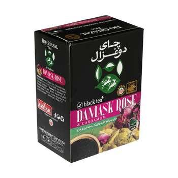 چای سیاه و تکه های گل محمدی و هل دوغزال - 100 گرم