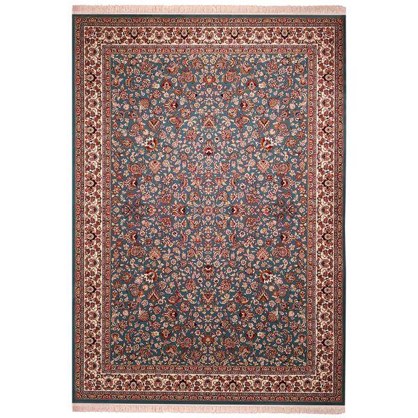 فرش ماشینی زمرد مشهد طرح افشان زمینه آبی