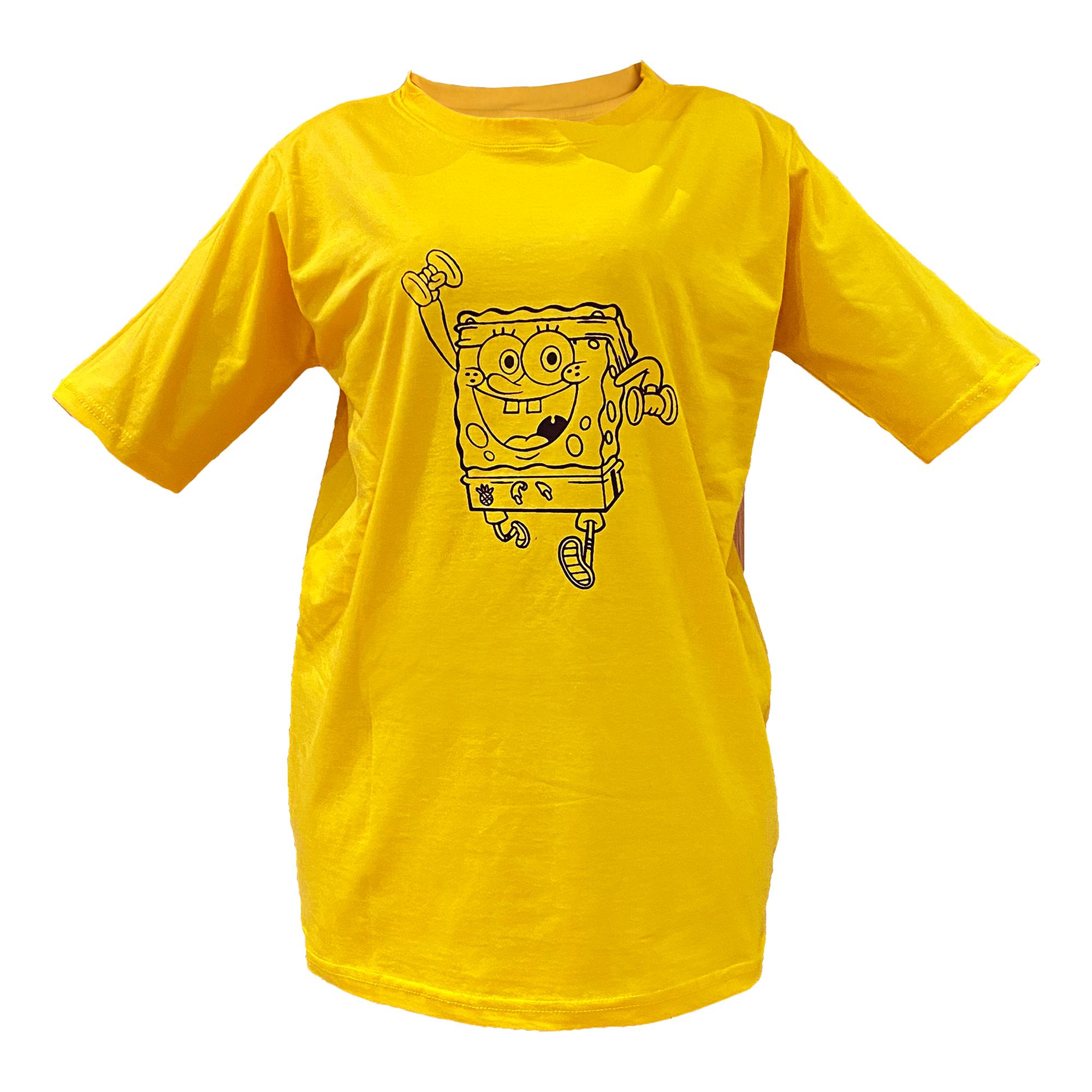 خرید                                      تی شرت آستین کوتاه زنانه مدل باب اسفنجی
