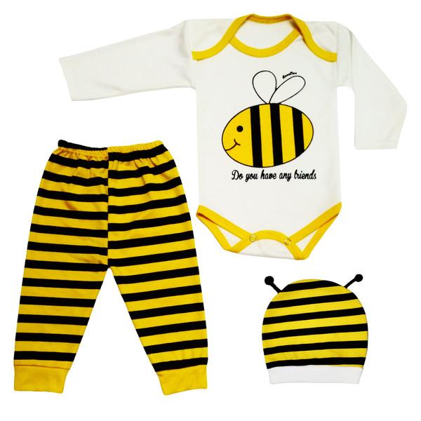 ست 3 تکه لباس نوزادی نی نی روز طرح زنبور کد A001