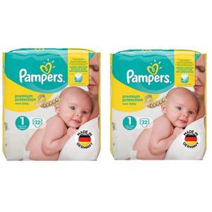 پوشک کودک پمپرز مدل Premium سایز 1 مجموعه 2 عددی بسته 22 عددی