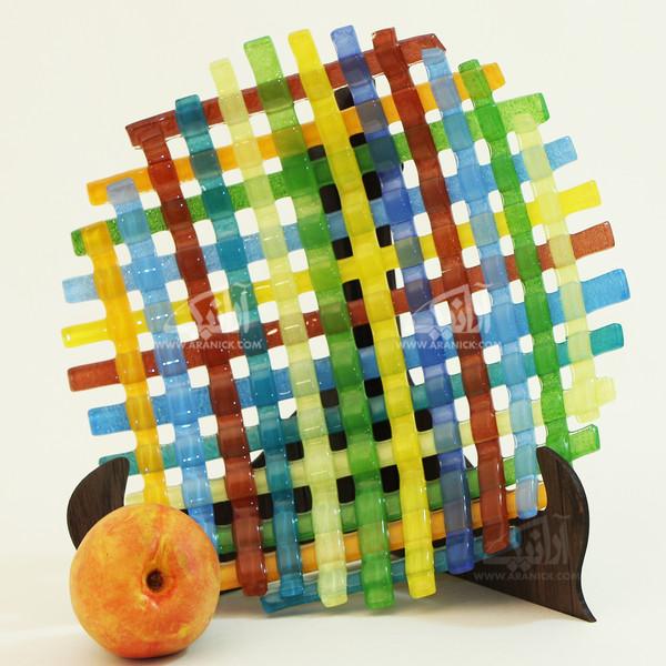 بشقاب همجوشی شیشه آرانیک گرد رنگ مشکی طرح حصیری مدل 1000300004